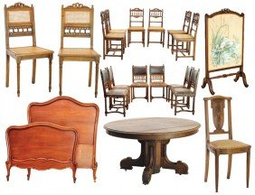 19: A LARGE LOT OF HENRI II AND LOUIS XV STYLE WALNUT A