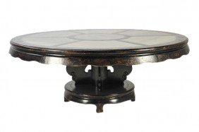 154: A LARGE ASIAN STYLE CIRCULAR DINING TABLE WITH INS