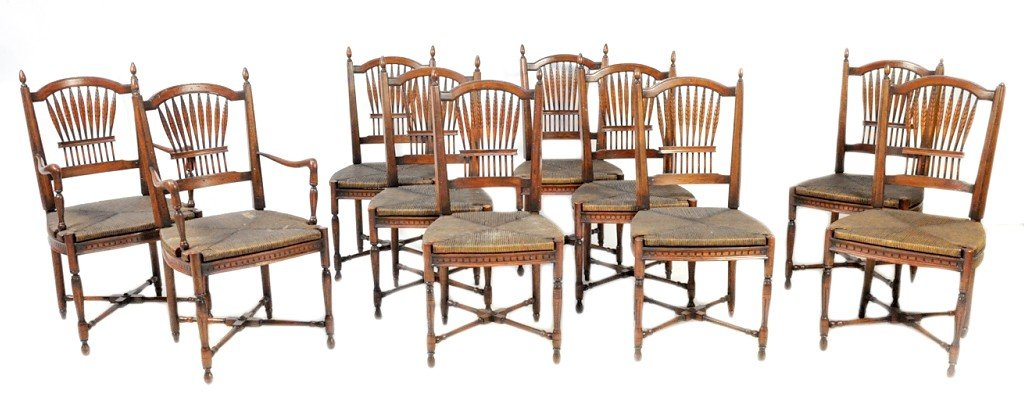 5: A SET OF TEN CARVED MAHOGANY WHEAT BACK CHAIRS WITH