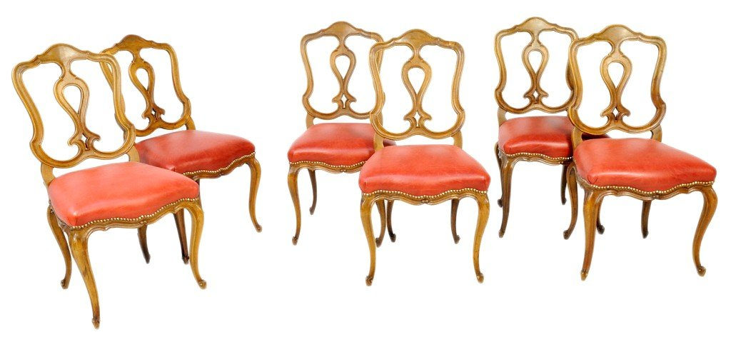 6: A SET OF SIX LOUIS XV STYLE CHERRY SIDE CHAIRS WITH