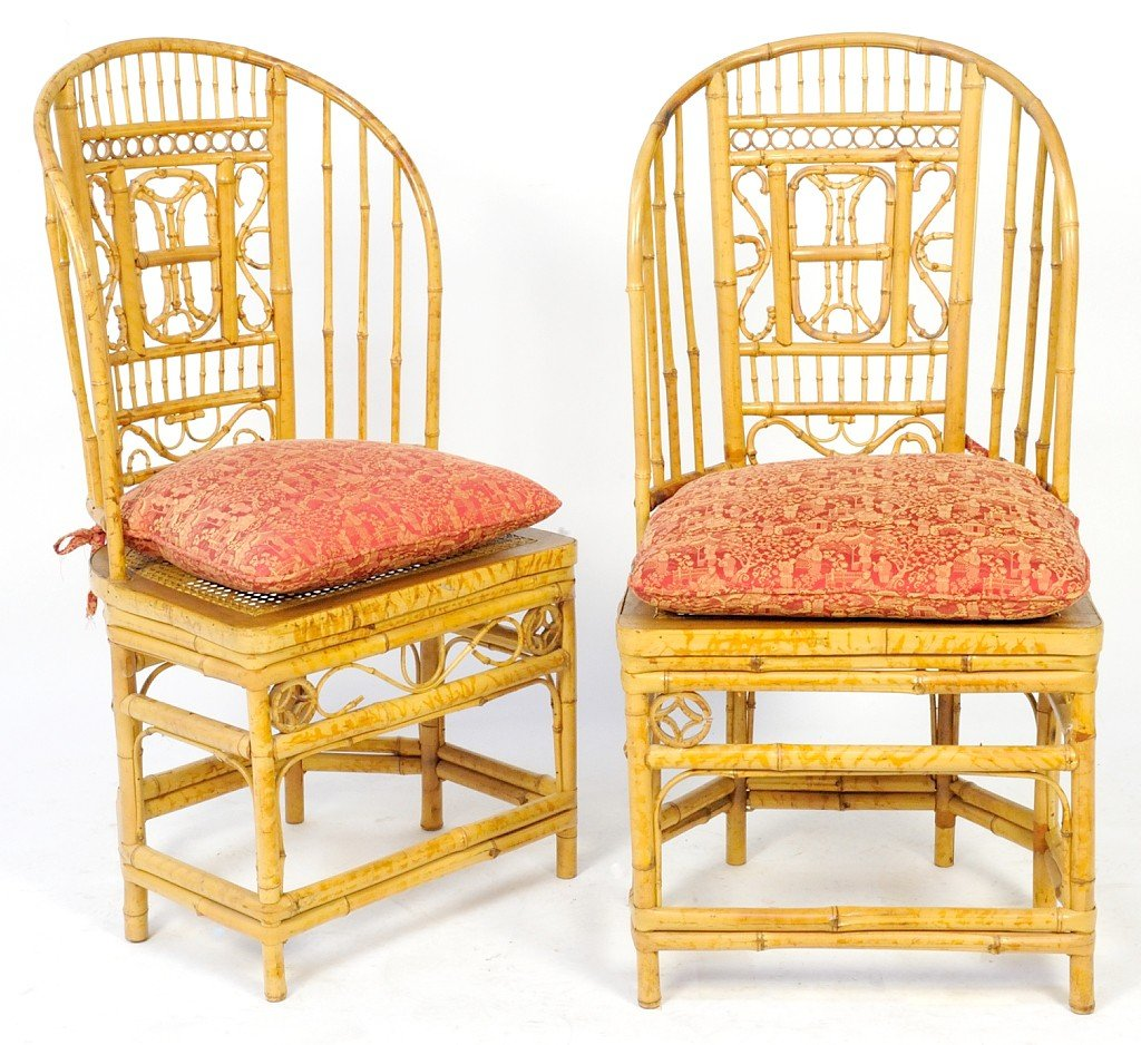 7: A GOOD PAIR OF HIGH BACK BAMBOO CHAIRS WITH CANE SEA