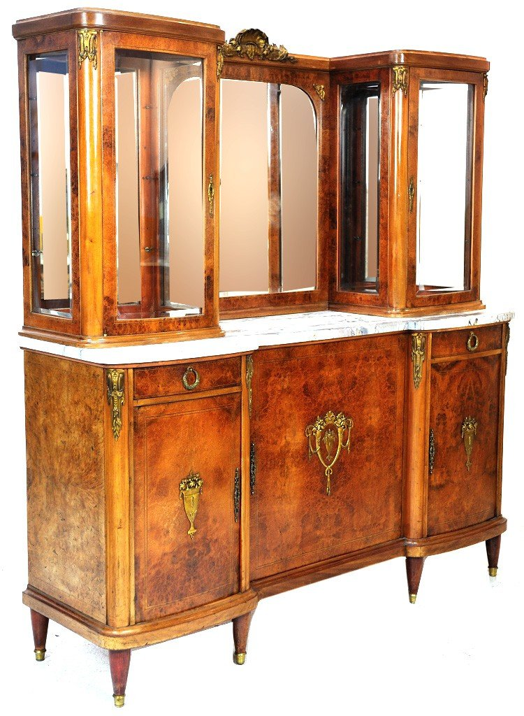 9: MARBLE TOP BUFFET WITH DISPLAYS ON EACH SIDE (BEVELE