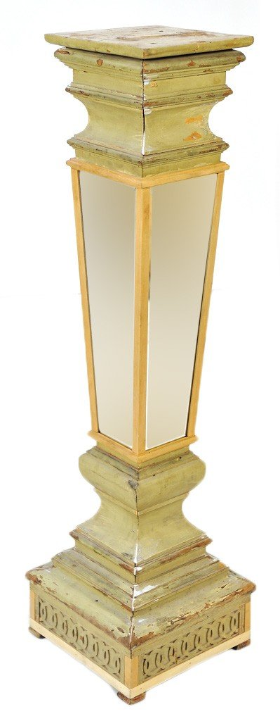 14: AN ANTIQUE PAINTED PEDESTAL WITH RECENTLY ADDED BEV