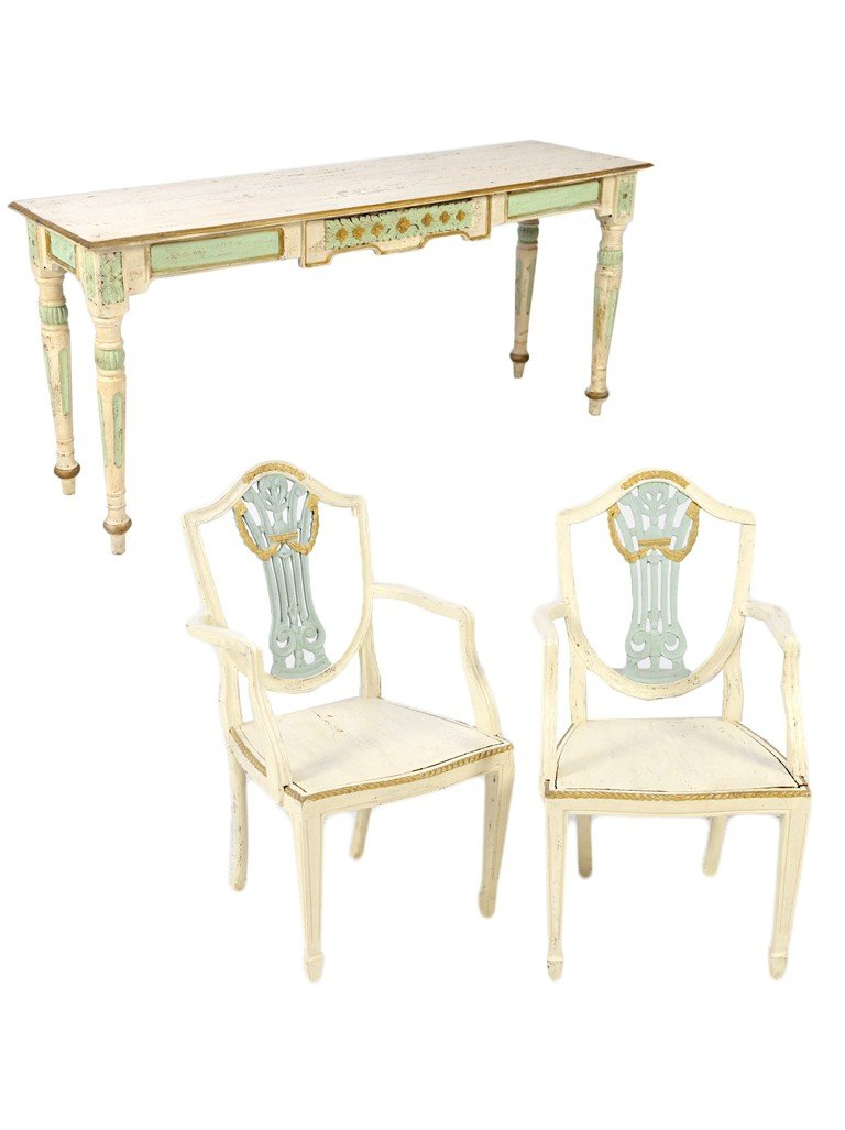 15: A CARVED AND DECORATED SOFA TABLE GROUPED WITH A PA
