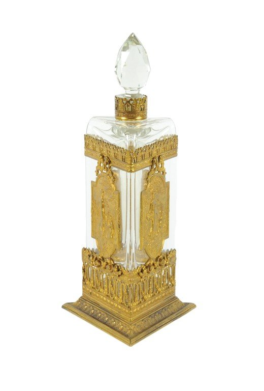 1: A LARGE GILT BRASS MOUNTED CRYSTAL PERFUME BOTTLE Ea
