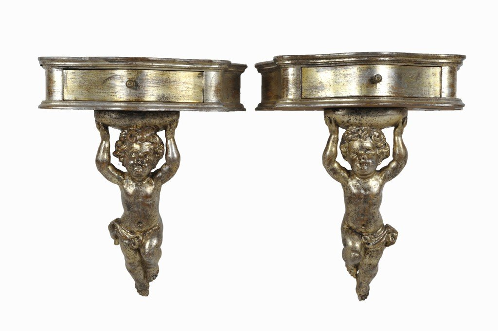 4: A PAIR OF ITALIANATE GILTWOOD SINGLE DRAWER CONSOLES