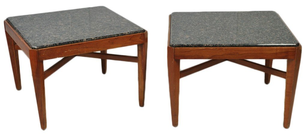 7: PAIR OF CONTEMPORARY CHERRY SQUARE END TABLE WITH GR