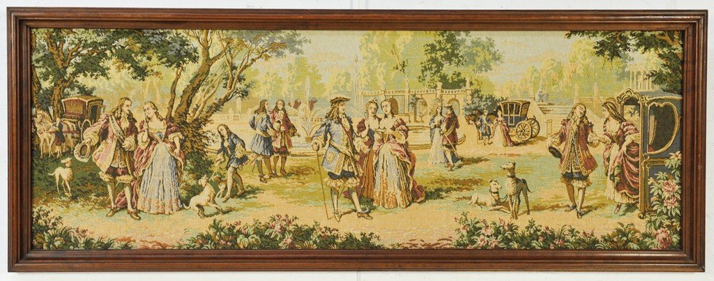 9: A TAPESTRY IN WALNUT FRAME REPRESENTING THE COURT OF