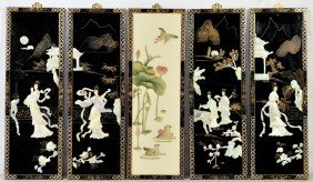 5 MOTHER OF PEARL ON LACQUER ASIAN SCREEN PANELS