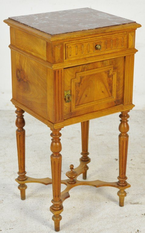 19: HENRI II STYLE WALNUT NIGHTSTAND WITH MARBLE TOP