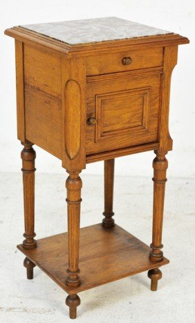LOUIS XVI STYLE WALNUT TRANSITIONAL NIGHTSTAND WITH