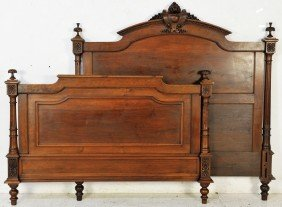 21: LOUIS XVI STYLE TRANSITIONAL WALNUT STYLE BED