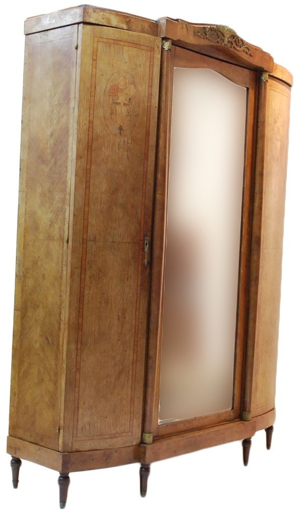 22: WALNUT PARQUETRY ARMOIRE WITH THREE DOORS; CENTER D