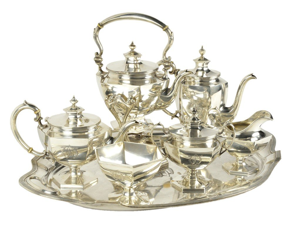 3: A SEVEN-PIECE STOWELL AND GORHAM STERLING SILVER COF