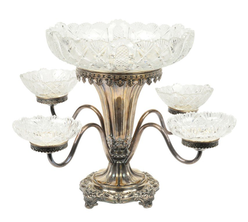 12: A SHEFFIELD PLATED EPERGNE WITH CUT CRYSTAL BOWLS E