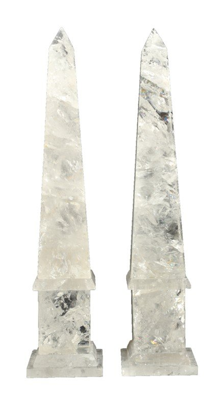 13: A PAIR OF NEOCLASSICAL STYLE CARVED ROCK CRYSTAL OB