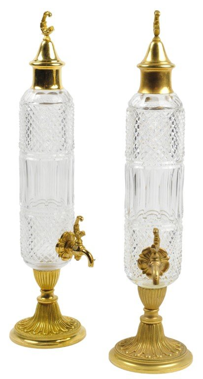 14: A PAIR OF CHARLES X STYLE CUT CRYSTAL AND ORMOLU LI