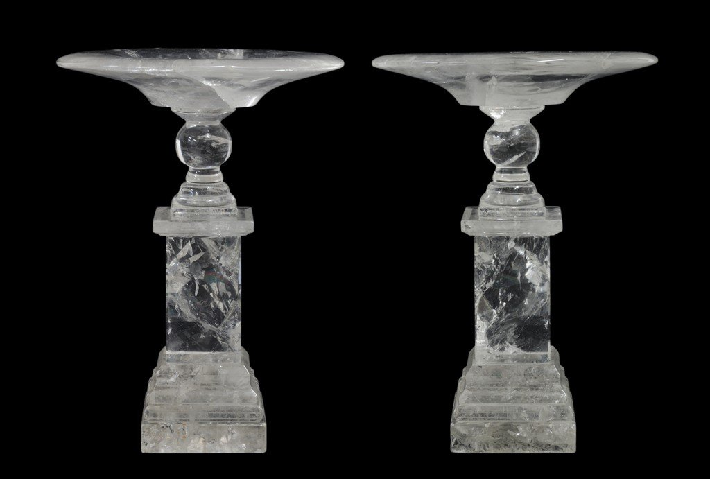 18: A PAIR OF ROCK CRYSTAL TAZZAS 20th Century One dish