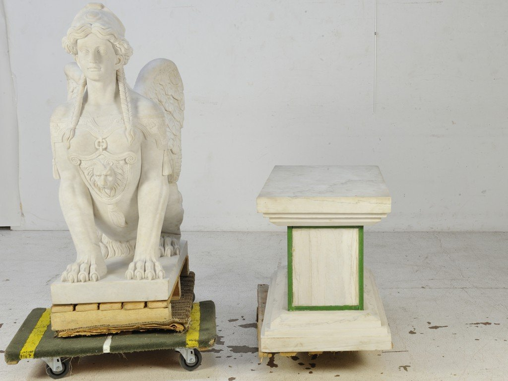 21: A PAIR OF WHITE CARRARA MARBLE HAND-CARVED SPHINXES - 3