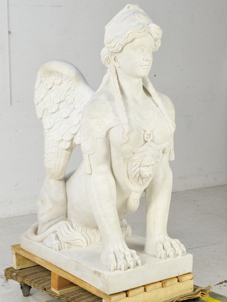 21: A PAIR OF WHITE CARRARA MARBLE HAND-CARVED SPHINXES - 5