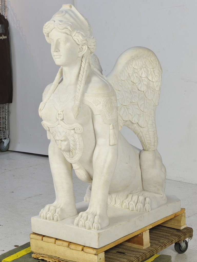 21: A PAIR OF WHITE CARRARA MARBLE HAND-CARVED SPHINXES - 6