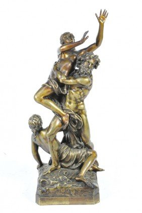 A SUPERB PATINATED BRONZE FIGURAL GROUP DEPICTING ""