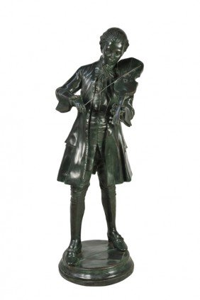 A CAST BRONZE FIGURE OF MOZART PLAYING THE VIOLIN 2