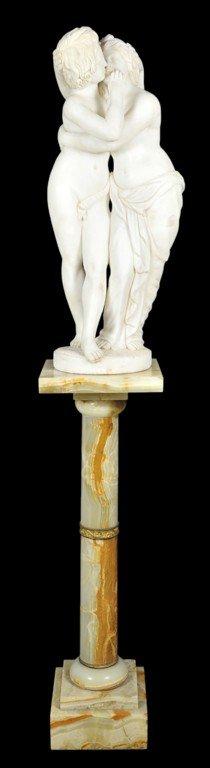33: A HAND-CARVED ITALIAN WHITE CARRARA MARBLE STATUE O