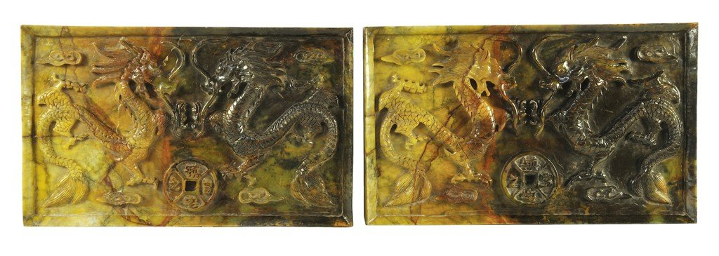 35: A PAIR OF CHINESE CARVED HARDSTONE PLAQUES WITH DRA