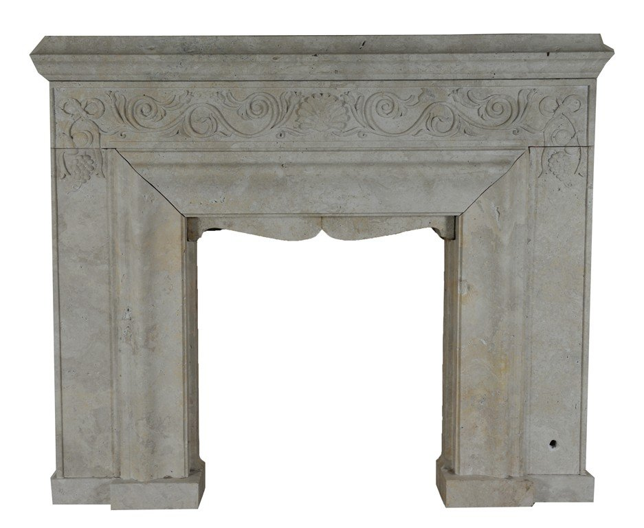 38: A FIREPLACE WITH SIMPLE CROWN MOLD MANTEL SHELF