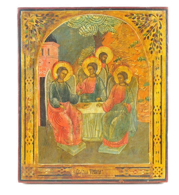 75: RUSSIAN ICON OF OLD TESTAMENT TRINITY Late 19th Cen