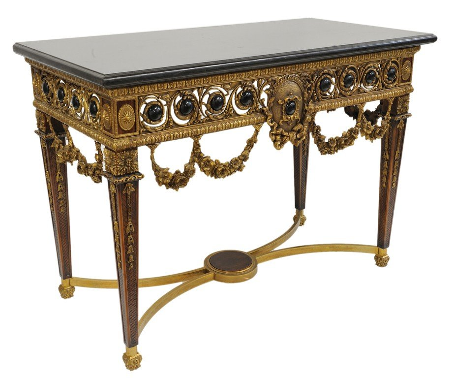 155: A LOUIS XVI STYLE BRONZE MOUNT CONSOLE WITH MARBLE