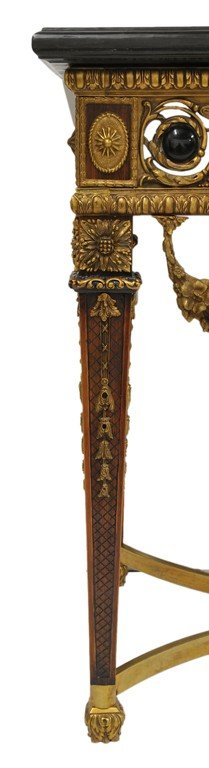 155: A LOUIS XVI STYLE BRONZE MOUNT CONSOLE WITH MARBLE - 3