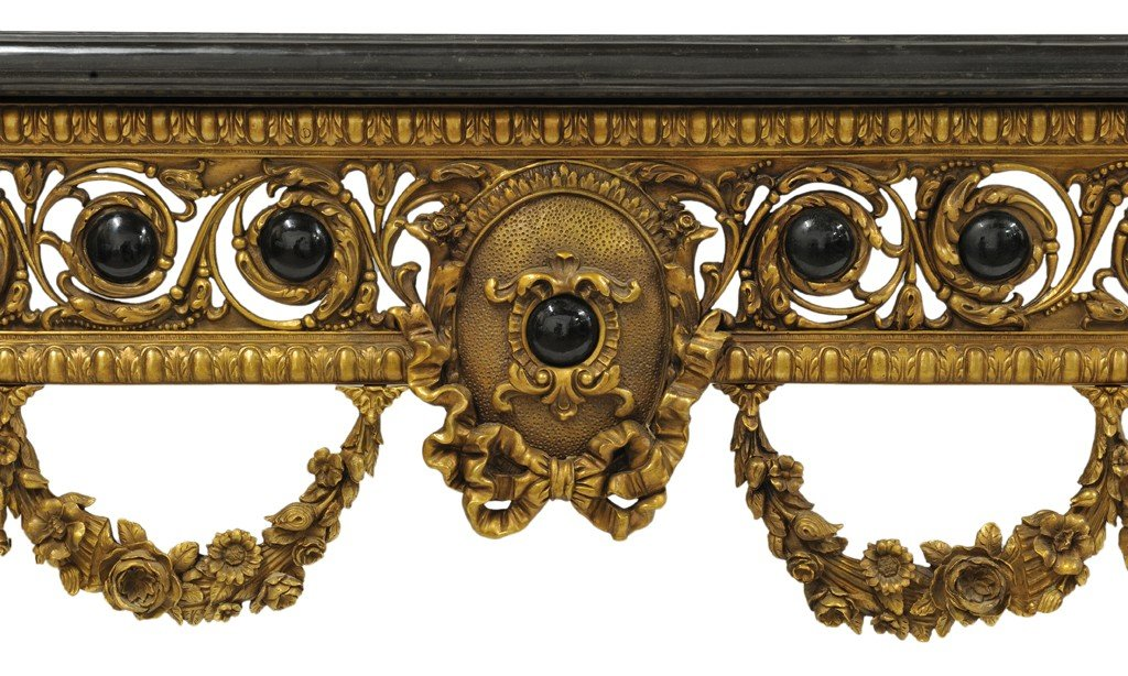 155: A LOUIS XVI STYLE BRONZE MOUNT CONSOLE WITH MARBLE - 4