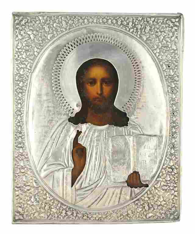 229: A RUSSIAN ICON OF CHRIST PANTOCRATOR SILVER OVERLA