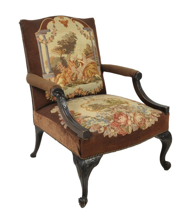 289: AN ENGLISH REGENCY STYLE TAPESTRY-UPHOLSTERED ARMC