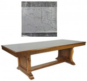 1: A LARGE WALNUT DOUBLE PEDESTAL CONFERENCE TABLE FROM