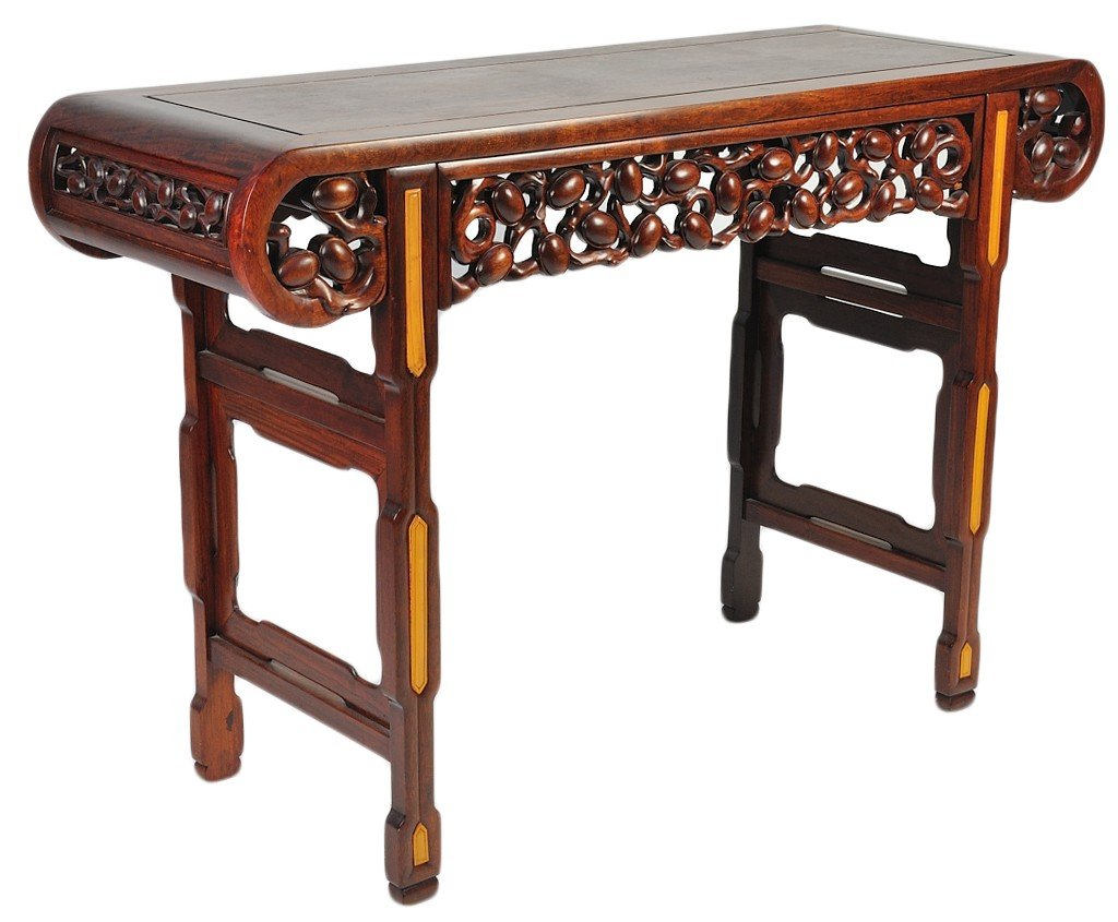 5: CARVED MAHOGANY CHINESE ALTER TABLE