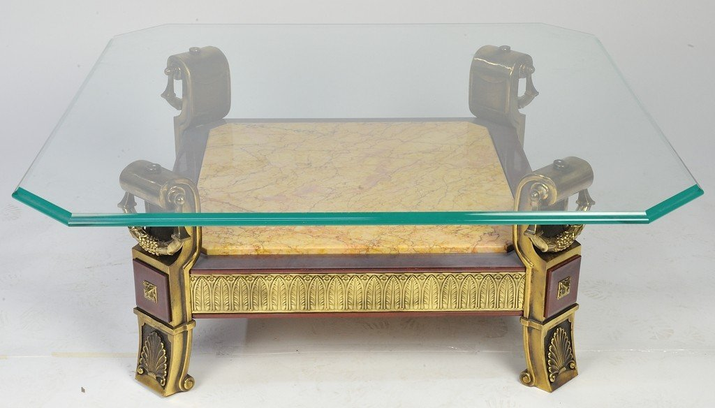 6: BRASS, GLASS, WOOD AND MARBLE COCKTAIL TABLE