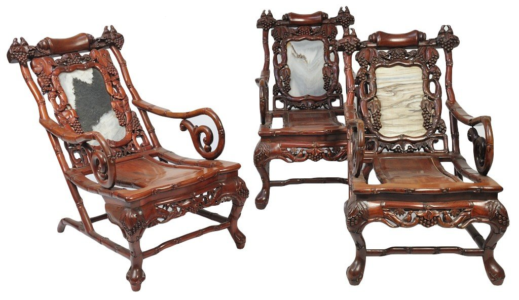 7: THREE INTRICATELY CARVED LATE 19TH CENTURY ASIAN SLI