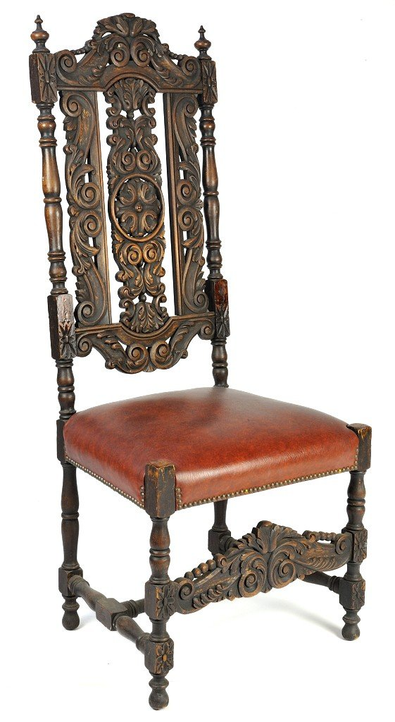8: AN ENGLISH RENAISSANCE STYLE HIGH BACK CHAIR WITH IN