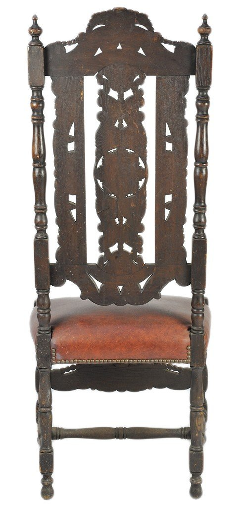 8: AN ENGLISH RENAISSANCE STYLE HIGH BACK CHAIR WITH IN - 4