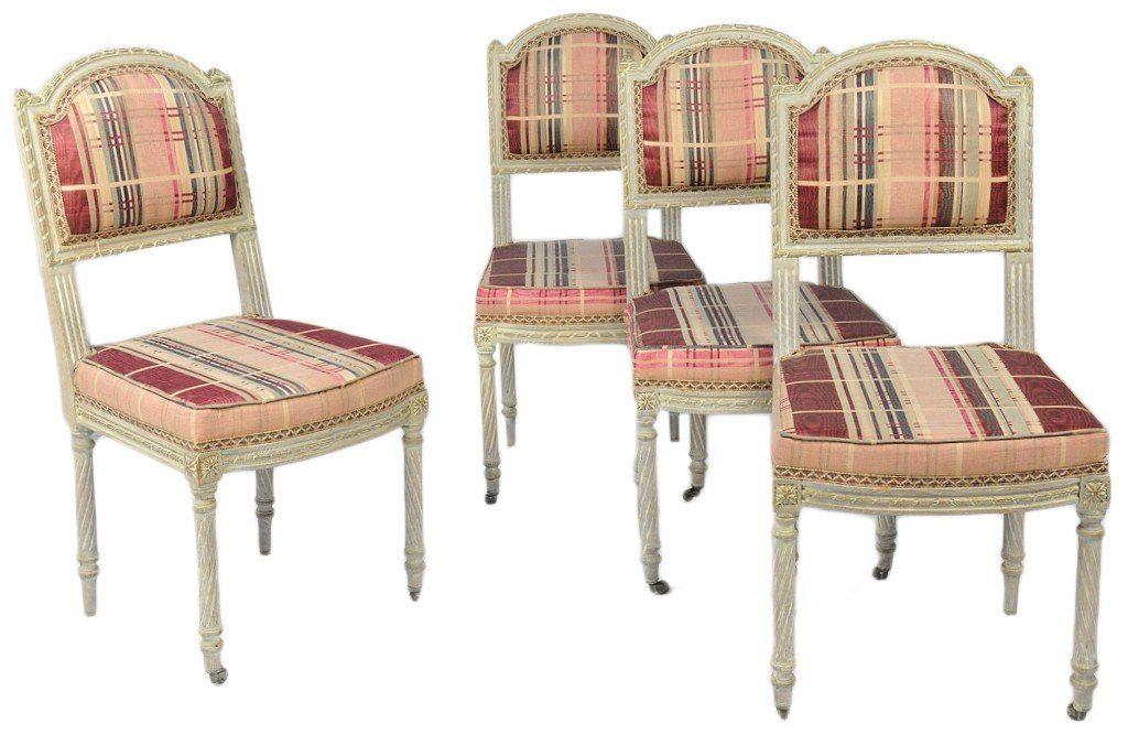 11: A SET OF FOUR LATE 19TH CENTURY FRENCH SIDE CHAIRS