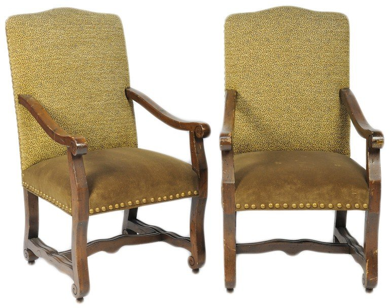 13: A PAIR OF FRENCH INSPIRED ARM CHAIR