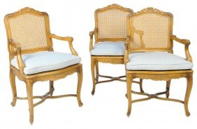 THREE MID CENTURY LOUIS XV STYLE CANE FAUTEUILS WIT