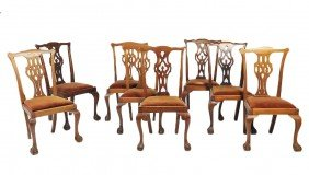 16: A SET OF EIGHT CHIPPENDALE STYLE BALL AND CLAW CHAI