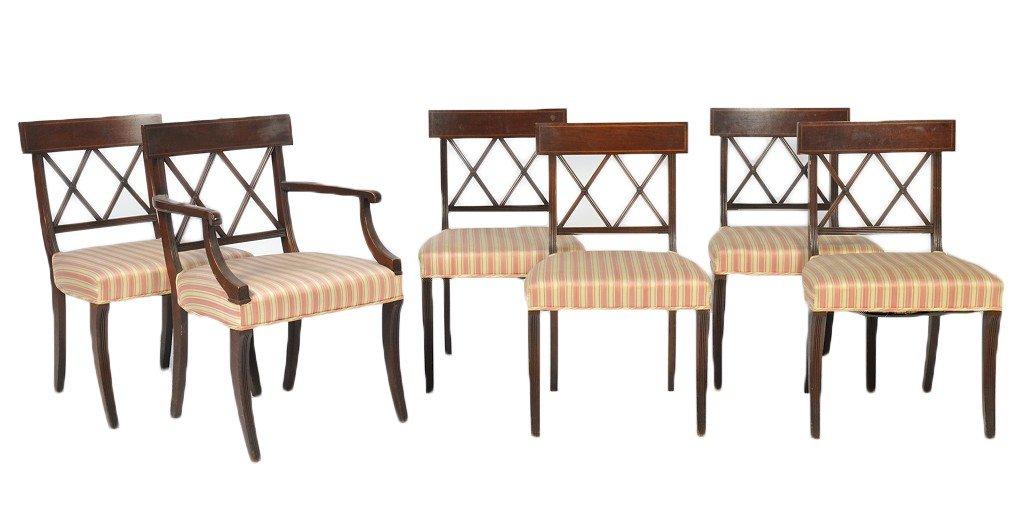 17: SET OF SIX MID CENTURY REGENCY STYLE CHAIRS OF MAHO