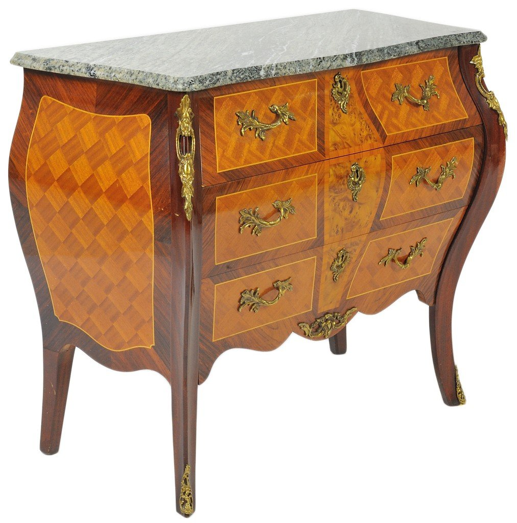 21:A FRENCH STYLE BOMBE CHEST WITH VERDE MARBLE TOP