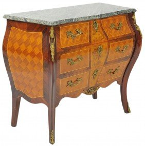 22: A FRENCH STYLE BOMBE CHEST WITH VERDE MARBLE TOP
