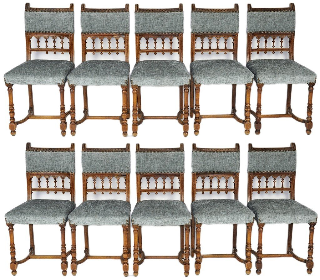 2: A SET OF TEN BRITTANY WALNUT SIDE CHAIRS WITH NEW BL
